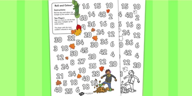 Leaves Colour and Roll Worksheet - worksheets, colouring, rolling