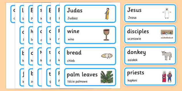 Easter Word Cards Polish Translation - polish, Easter Topic, Easter Cards, Easter Word Cards, Foundation, KS1, Easter, Easter resource, Easter teaching resource,  Easter Sunday, Easter, bible, egg, Jesus, cross, Easter Sunday, bunny, chocolate, hot c