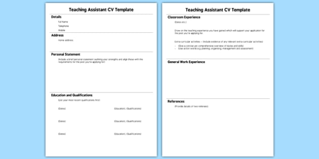 teaching assistant cv template teaching assistant cv