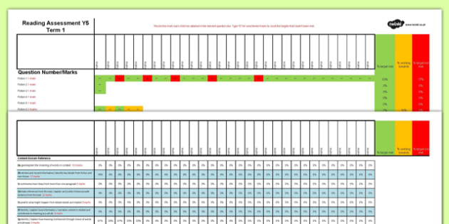 Year 5 Term 1 Reading Assessment Spreadsheet - year 5, reading, assessment, spreadsheet