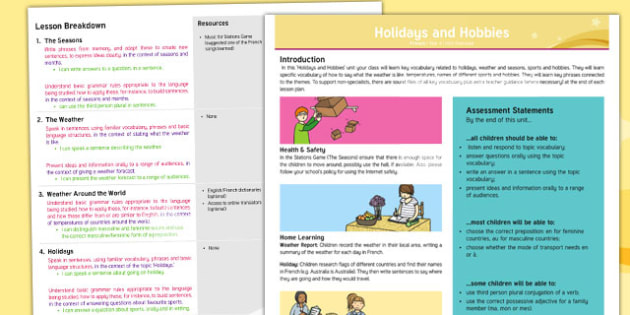 French: Holidays and Hobbies Year 4 Overview