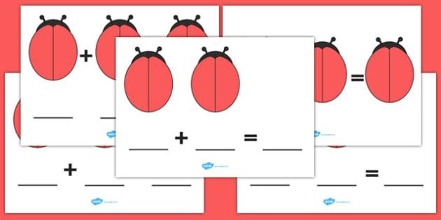 Blank Ladybird Number Sentence Worksheet / Activity Sheets