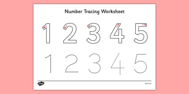 Numbers 1 5 Worksheet jannatulduniya – Number Tracing Worksheets