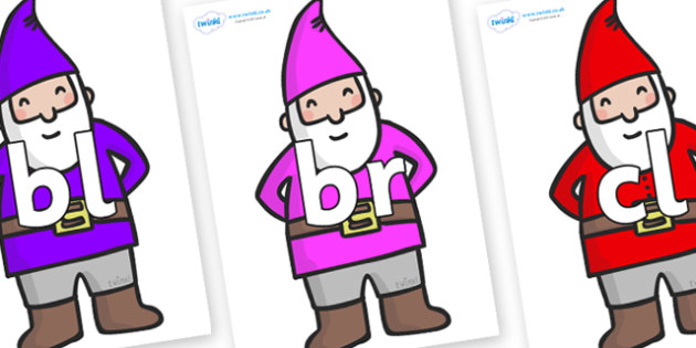 Initial Letter Blends on Gnomes - Initial Letters, initial letter, letter blend, letter blends, consonant, consonants, digraph, trigraph, literacy, alphabet, letters, foundation stage literacy
