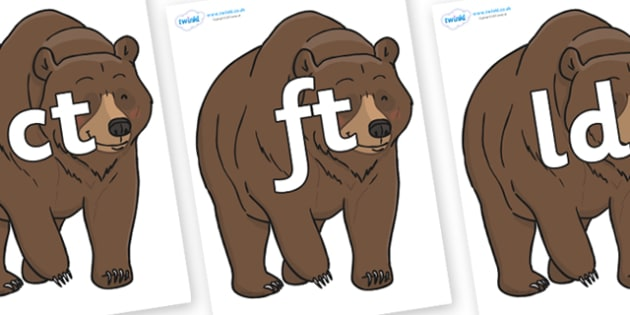 Final Letter Blends on Bear - Final Letters, final letter, letter blend, letter blends, consonant, consonants, digraph, trigraph, literacy, alphabet, letters, foundation stage literacy