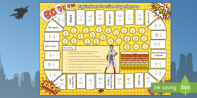 Equivalent Fractions Superheroes Board Game - ACMNA077  equivalent