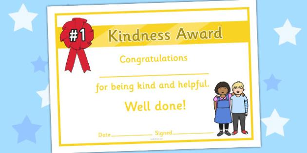 Kindness Award Certificate - kindness award certificates, reward, award, certificate, rewards, school reward