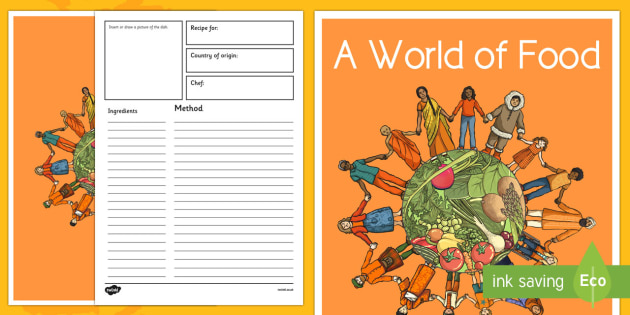 A World Of Food Class Cookbook Template  Cooking Cultural