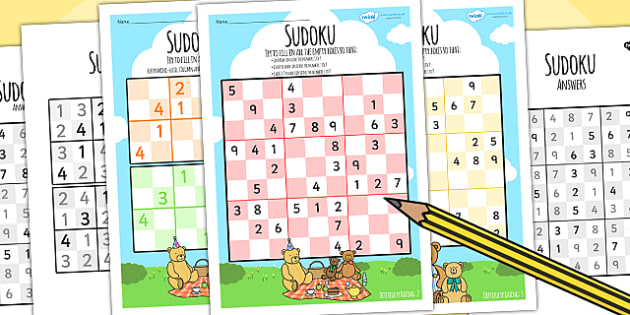 Teddy Bears Picnic Sudoku Differentiated - teddies, bears, game