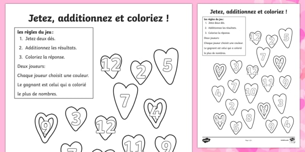 valentine 39 s day colour and roll worksheet french french valentines day. Black Bedroom Furniture Sets. Home Design Ideas