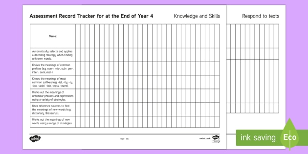 New Zealand End of Year 4 Reading Assessment Tracker - reading, assessment, tracker, End of Year 4, NZ, New Zealand,