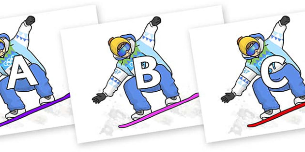A-Z Alphabet on Snowboarding - A-Z, A4, display, Alphabet frieze, Display letters, Letter posters, A-Z letters, Alphabet flashcards