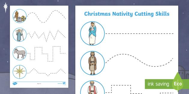 Christmas Nativity Cutting Skills Worksheet Activity Sheets