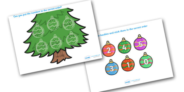 Christmas Themed Number Ordering (Baubles) - christmas, numbers