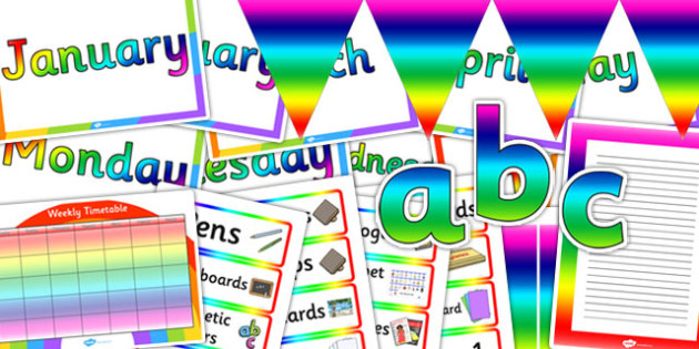 Rainbow Co-ordinating Classroom Display Pack - display, pack