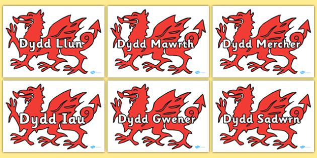 Days Of The Week On Dragon Welsh Translation -translate, days