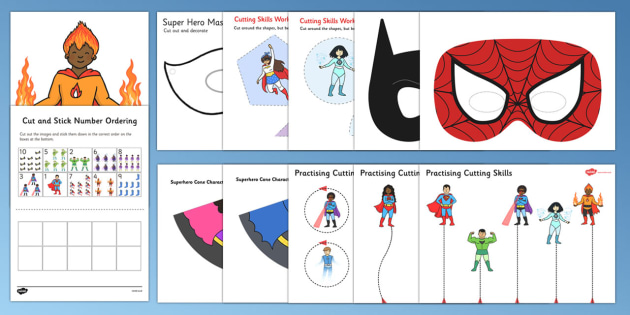 Superhero Themed Scissor Skills Pack - superhero, themed, scissor skills, pack, fine, motor