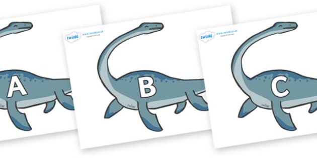 A-Z Alphabet on Plesiosaur - A-Z, A4, display, Alphabet frieze, Display letters, Letter posters, A-Z letters, Alphabet flashcards