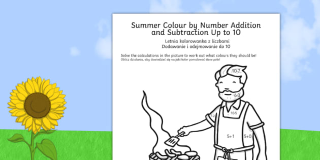 Summer Colour by Number Addition and Subtraction Up to 10 Polish Translation - polish, summer, colour, number, addition, subtraction