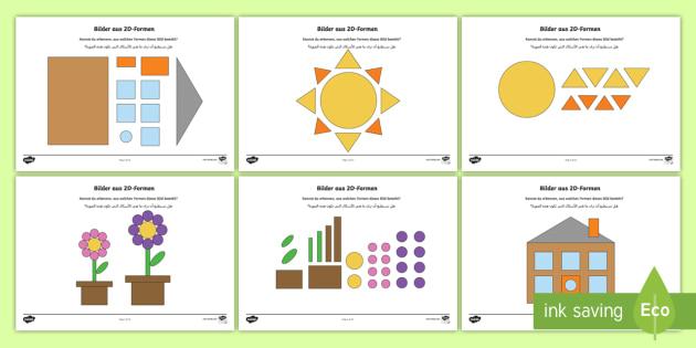 Deutsch/Arbabische Bilder aus 2D Formen Arbeitsblätter