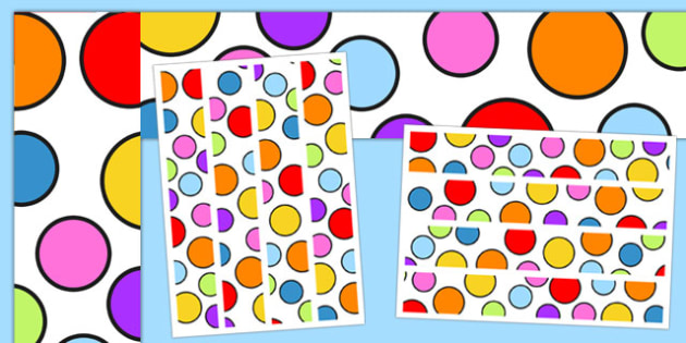 Multicoloured Polka Dot Display Borders - display, borders, polka dot