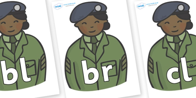 Initial Letter Blends on Officers - Initial Letters, initial letter, letter blend, letter blends, consonant, consonants, digraph, trigraph, literacy, alphabet, letters, foundation stage literacy