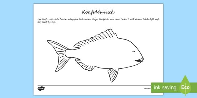 Konfetti Fisch Arbeitsblatt: Erstes Schneiden und Kleben