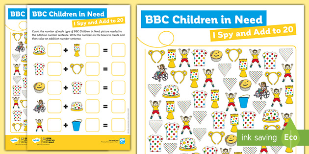 EYFS BBC Children in Need I Spy and Add to 20