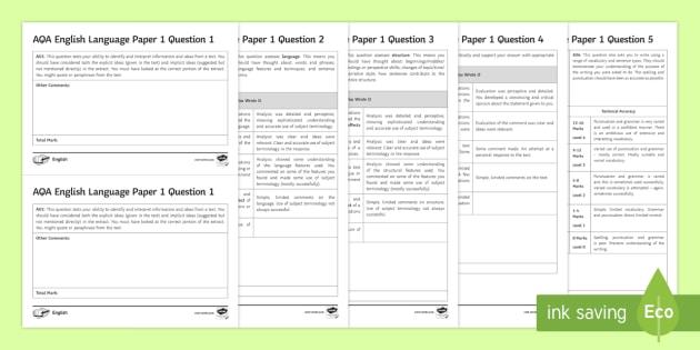 GCSE AQA English Language Paper 1 Marking Worksheets ...