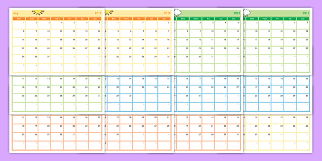 New Academic Year Monthly Calendar Planning Template