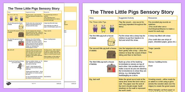 The Three Little Pigs Sensory Story - three, little, pigs, three little pigs, sensory, story, sensory story, senses, reading, listening, feeling
