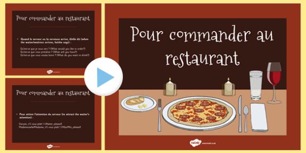 Pour commander au restaurant PowerPoint French - french, how to, order, restaurant, translations, powerpoint