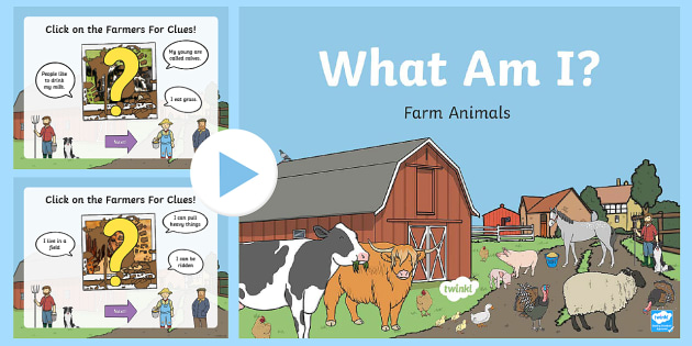 Farm Animals What Am I Interative Game PowerPoint - Requests CfE, What Am I, Farm Animals, Guessing the Farm Animals, Scottish farm animals, farming,Sco