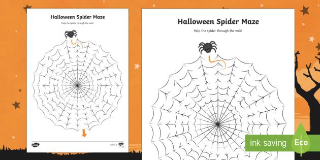Halloween Spider Maze Worksheet / Activity Sheet