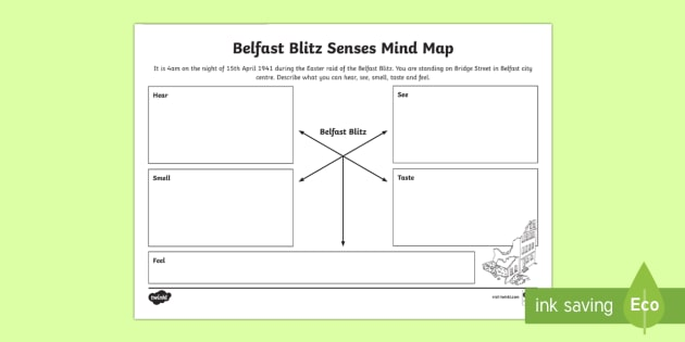 Belfast Blitz Senses Mind Mapping Writing Activity Sheet - World Around Us KS2 - Northern Ireland, Second World War, war, Belfast, Senses, Poetry, Creative Wri