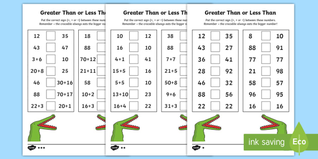 Greater Than and Less Than Worksheet / Worksheets - year 2, maths, place
