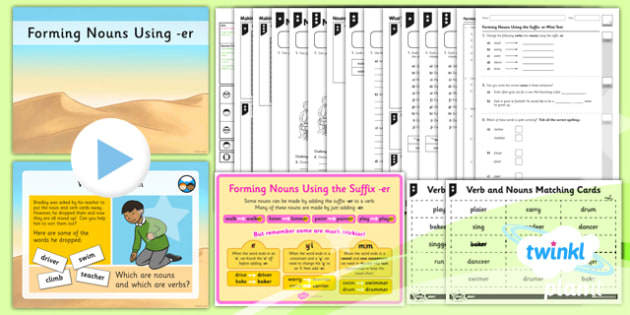 PlanIt Y2 SPaG Lesson Pack: Forming Nouns using er - GPS, spelling, grammar, nouns, verbs, suffixes, er