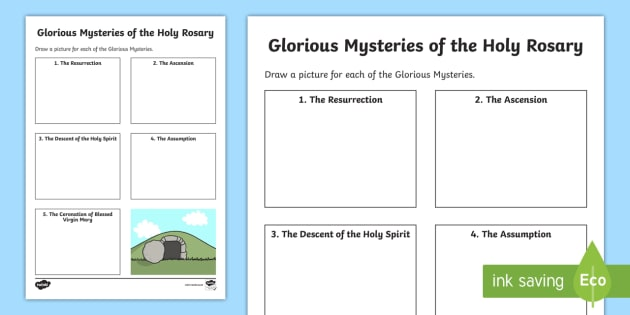 The Glorious Mysteries Of Holy Rosary Worksheet Activity Sheet