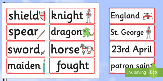 St George's Day Word Cards - Word cards, Word Card, flashcard, flashcards, St Georges Day, maiden, St George, patron saint, dragon, sword, England, fought, horse, English