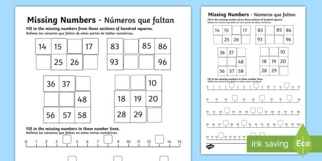 missing numbers worksheet activity sheet english spanish eal. Black Bedroom Furniture Sets. Home Design Ideas