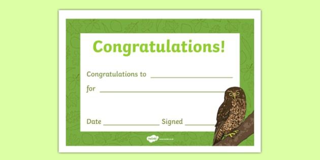 Owl Themed Editable Certificate - owl, editable, certificates, award, reward, praise
