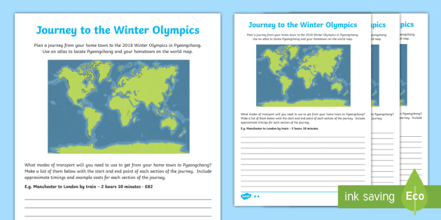 KS2 Journey to the Winter Olympics Differentiated Worksheet / Activity Sheet - Transport, Timetables, Cost, South Korea, Sport, worksheet