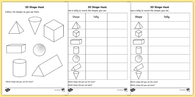 3d Shape Hunt Worksheet Activity Sheet 3d Shape Hunt
