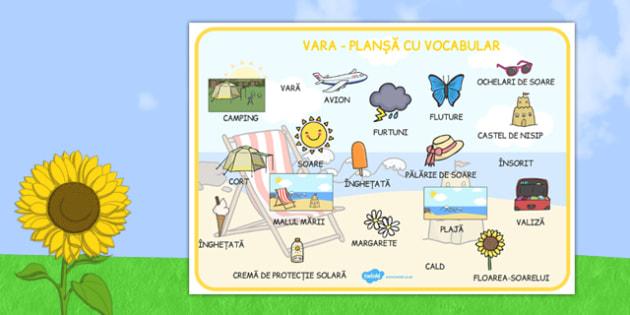 Vara - Planșă cu vocabular - vara, planșă cu vocabular, cuvinte, vocabular, estival, comunicare, plajă, materiale didactice, română, romana, material, material