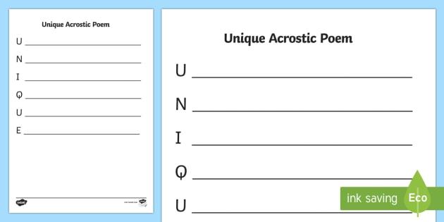 unique acrostic poem poetry creative writing key stage 4