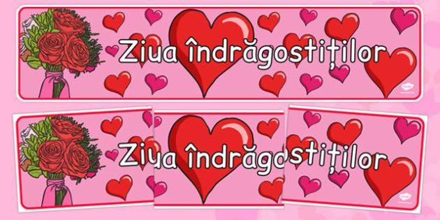 Ziua îndrăgostiților - Banner - ziua îndrăgostiților, Valentine's Day, banner, decor, colorat, dăruit, materiale, materiale didactice, română, romana, material, material didactic