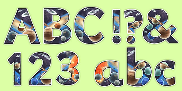 Space Themed Detailed Images Display Lettering - space, letters
