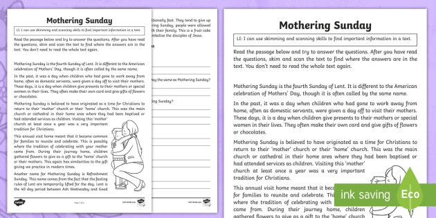 Mothering Sunday Skimming and Scanning Worksheet / Activity