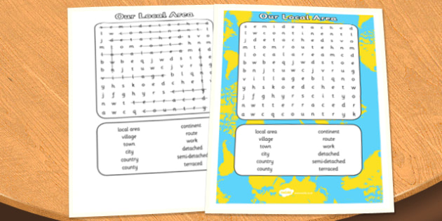 Our Local Area Wordsearch - local, area, wordsearch, search