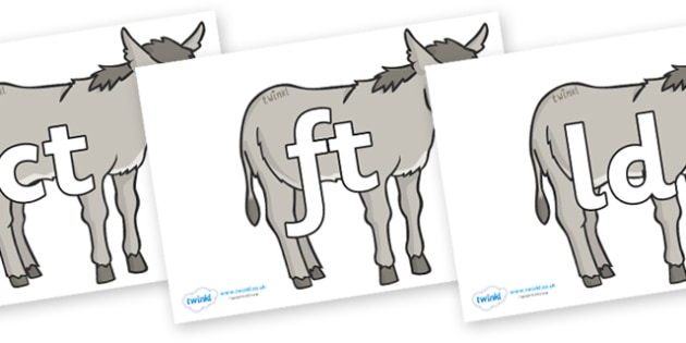 Final Letter Blends on Donkeys - Final Letters, final letter, letter blend, letter blends, consonant, consonants, digraph, trigraph, literacy, alphabet, letters, foundation stage literacy